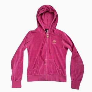 Y2K Dereon Hot Pink and Gold Velour Hoodie